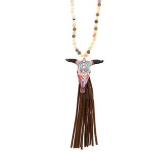 Beaded Bull Pendant Tassel Necklace Set
